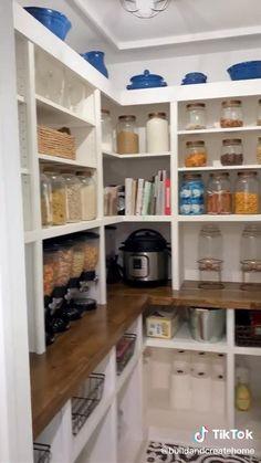 Kitchen Pantry Design, Kitchen Organization Pantry, Modern Kitchen Design, Home Decor Kitchen, Home Kitchens, Kitchen Interior, Ikea Pantry Storage, Storage Room Ideas, Kitchen Pantry Cupboard