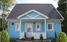 MAX-HAUS - Schwedenhaus Lönneberga Holzhaus blau weiß