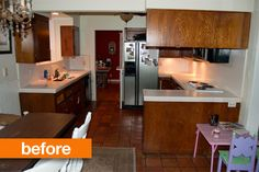 "Holy cow! What a change! See the ""after"" here: http://www.apartmenttherapy.com/kitchen-before-after-from-dark-dated-to-light-glamorous-172616"