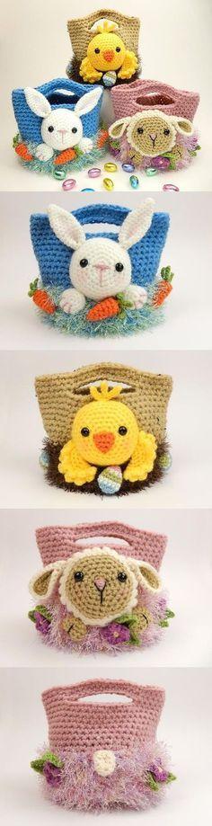 Cestinhas de páscoa em crochê amigurumi. #artesanato #arte #croche #pascoa #amigurumi
