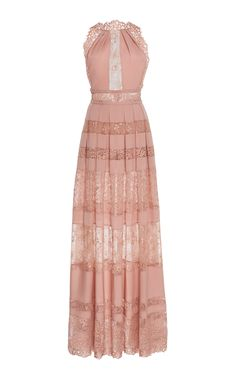 e48a815a3bd Lace Inset Halter Neck Maxi Dress by ELIE SAAB for Preorder on Moda  Operandi Halter Neck