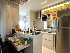 Vila Nova São José - Cozinha americana  Apartamento decorado, de 90m2, em São José dos Campos - Gafisa e arquiteta Camila Klein