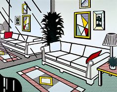 Interior with Mirrored Wall - Roy Lichtenstein 1991