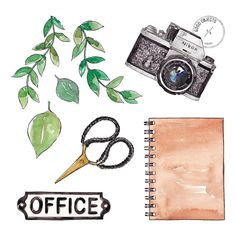 "475 Likes, 4 Comments - Good Objects Illustration (@goodobjects) on Instagram: ""Good objects - Office  #watercolor #illustration"""