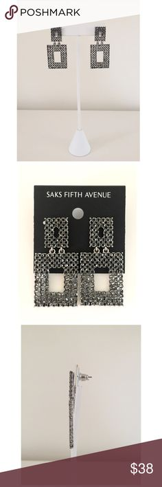 """NWT Saks 5th Ave Hematite Gunmetal Square Earrings Striking NWT Saks Fifth Avenue modern open square hematite studded sparkly earrings. Gunmetal finish w/ post backs. Earring drop is approx. 1-7/8"""" & width of lower dangling square is 1"""". These earrings glisten!✨ Wish I could capture in pics! Purchased originally for a gift. Own them before I return them!  Beautiful  w/ evening wear or edgy worn w/ jeans, heels & a moto jacket! Always great to have a versatile pair you can dress hi or lo in…"""