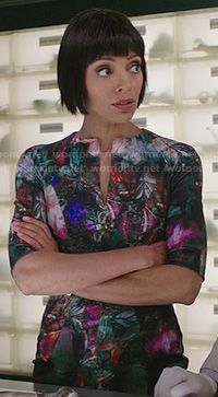 Wornontv.net Will tell you what your favorite TV show characters are wearing and where to find it!! Camille's abstract digital print dress on Bones