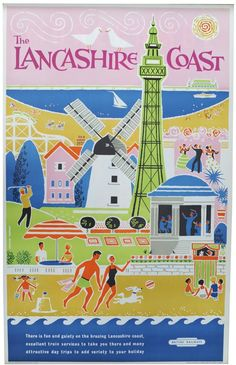 The Lancashire Coast : British Railways vintage poster British Travel, British Seaside, British Isles, Posters Uk, Railway Posters, Vintage Travel Posters, Vintage Postcards, Vintage Advertisements, Vintage Ads