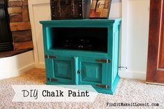 DIY chalk paint.  Transformation of a $20 TV stand from the thrift store.  Make your own chalk paint to save money and time - no sanding!  And it's easy!