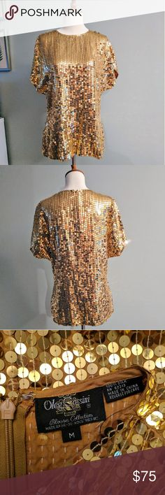 Vintage Oleg Cassini Gold Sequin Party Top 100% silk sequin shell top that zips up the back. There are a few loose threads and possibly a missing sequin here or there ( i only saw one) Timeless piece! Perfect party top! Size Medium Oleg Cassini Tops Blouses
