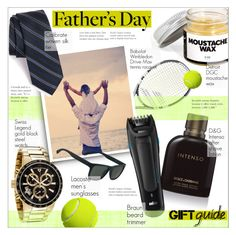 """Father's Day Gift Guide"" by alexandrazeres ❤ liked on Polyvore featuring Babolat, Swiss Legend, Dolce&Gabbana, Braun, Calibrate, Lacoste, men's fashion, menswear, giftguide and fathersday"