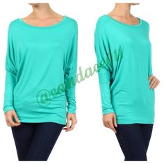 ✨New Listing✨Long Sleeved Dolman Top (Mint) ❇️Bundle to save 15%!❇️ Scoop neckline 95% Modal, 5% Spandex Loose in the torso. Fitted at the hip. Made in the USA Size Recommendations: (S) 2-4; (M) 6-8; (L) 10-12; (XL) 14-16; (2X) 18-20; (3X) 22-24 Note: Color appears slightly lighter in person. Boutique  Tops Tees - Long Sleeve