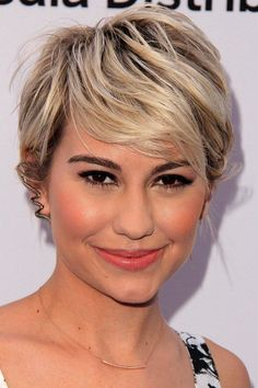 pixie haircut with a side fringe