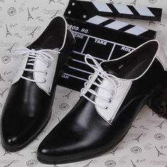 Men Black White Lace Up Fashion Wedding Prom Dress Oxford Shoes Shoe SKU-1100152