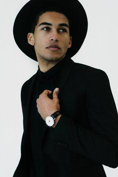 monochrome // brathwait, watch, hat, black suit, black shirt, menswear, mens fashion, mens style