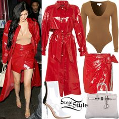 Kylie Jenner was spotted leaving Carbone in New York City wearing a Kookaï Bella Bodysuit ($18.00), an Abby Patent Longline Trench Coat ($1,580.00) and the Anders Patent Skirt ($265.00) both by Isabel Marant, her Hermès Birkin Beton Matte Crocodile Bag ($69,950.00) and Yeezy Season 3 PVC Ankle Boots ($1,036.00). You can find similar boots for less at Public Desire ($49.99).