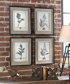 """Casual Grey Study Framed Prints - Set of 4 An homage to the verdant seasons of spring and summer, these prints feature delicately drawn herbs along with their botanical names and French script. Light tan burlap mats surround each print; the inner liners have a medium wood tone base with a distressed white painted finish. The distressed black finish of the frames, accented with a soft gray and taupe, adds to the lovely aged aesthetic of the prints. H:17.5"""" W:14.5"""" D:1"""" $265.00"""