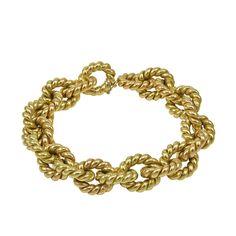 Clic Italian Textured Gold Link Bracelet 1stdibs Bracelets