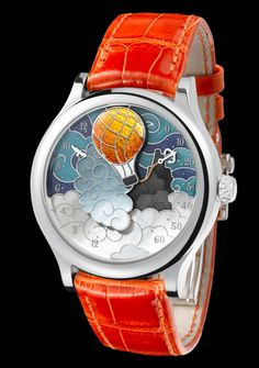 Five Weeks in a Balloon - White Gold - Champlevé Enamel and Mother-of-Pearl Dial - Van Cleef & Arpels