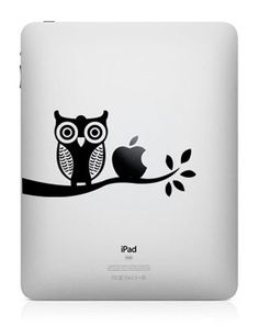 Night Owl on Branch Left Side Black Silhouette Macbook Symbol Keypad Iphone Apple Ipad Decal Skin Sticker Laptop Ipad Mini Accessories, Smartphone, Macbook Stickers, Apple Logo, Vinyl Crafts, New Ipad, Apple Products, Iphone, Art Logo
