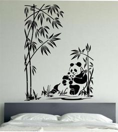 Panda Wall Decal Family Sticker Art Decor Bedroom Design Mural Love Animals Pandas Bear