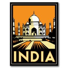 taj mahal india art deco  poster
