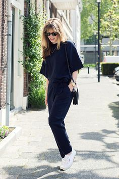 Christine R. - Ganni Top, Ganni Trousers, Céline Bag, Superga Shoes - Navy suit