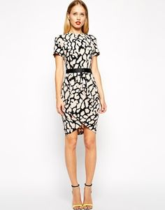 Enlarge ASOS Tulip Dress in Crepe with Animal Print