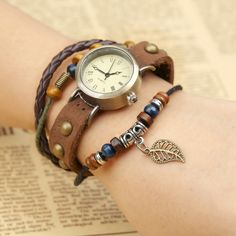 Hollow Out Leaf Rivet Strap Watch