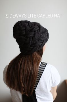 Sideways cabled hat (ravelry: Selivanova)