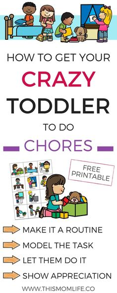 Chore chart for toddlers and preschoolers. Teach chores in the househould to build self-discipline and foster independance.