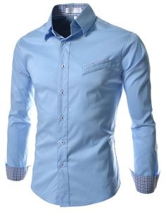 TheLees Mens Casual Slim Fit Pattern Stretchy Shirts at Amazon Men's Clothing store: Button Down Shirts