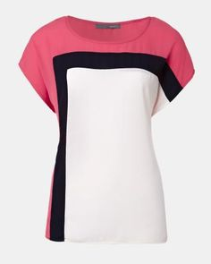 TEE-SHAPED COLOUR BLOCK BLOUSE