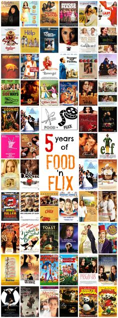 Movies we watched and cooked from during the first 5 years of the Food 'n Flix Club! Join in our celebration this month (September '15) #foodnflix