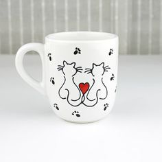 Hand Painted Porcelain Cup Love cats 2.  Design by witchcorner, $20.00