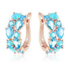 LZESHINE 16 Colors for Choose Top Sale Flower Earrings Rose Gold Plate Multicolor CZ Stone Hoop Earrings for Women Bijoux Brinco