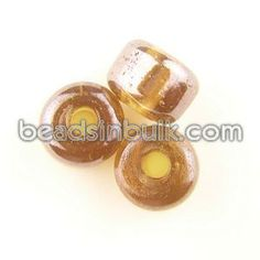 BIS-300-66 12x9mm Cylindrical Amber Luster Pony Glass Beads 4mm hole (1lb - 182 beads) $13.94