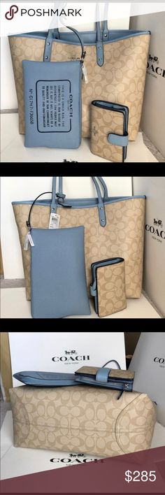 Brand new Coach tote with wallet 100% Authentic  Coach Tote Bag and matching wallet. It comes with a cosmetic bag/pen holder/smaller wrist bag. Depends on whatever you prefer it. It's reversible one side is the standard tan with print then you can reverse it to a beautiful light baby blue color. Depends on what you feel like that day.  This item is a re-posh item. I bought it as a gift and the person does not care for the size of the Tote. This would make a great gift for yourself or for…