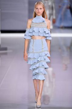 Exquisite Design - Silver crystal embellishment & tied ruffles co-ordinating pale blue outfit - SS18 Ralph & Russo #LFW...x
