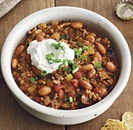My absolute favorite chili recipe!!!  Slow-Cooker Beef Chili with Beer and Lime Sour Cream