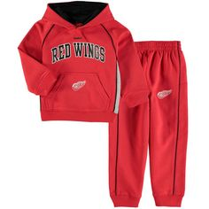 Detroit Red Wings Reebok Infant Classic Fan Arch & Logo Fleece Hoodie and Pant Set - Red