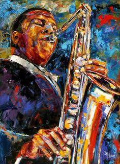 saxophone - Debra Hurd Original Paintings AND Jazz Art: John Coltrane Jazz Painting ART Original Oil 30x40