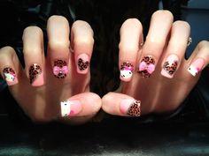 Cute Leopard Stud Hello Kitty Nails