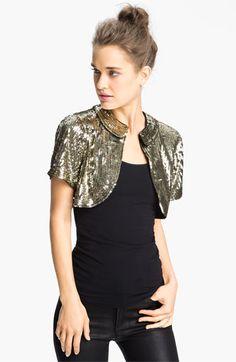 Eliza J Short Sleeve Sequin Bolero available at #Nordstrom $48.50