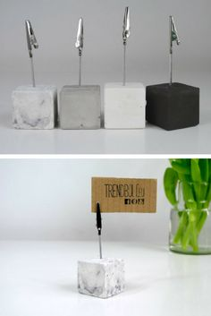 The little cube concrete photo holders are so cute. #concrete #cement #photoholder #homedecor #pictureclip #businesscardholder #commissionlink