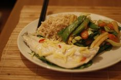 Thai style steamed sea bass with jasmine rice and stir fried vegetables - healthy and packed with flavour!