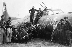 B-17 damaged in collision with Fw190 in head-on attack