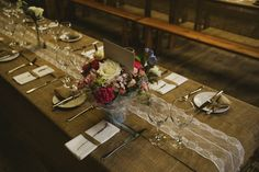 Lace Hessian Table Runner Cloths Decor Fun Music Rustic Barn Wedding http://www.yorkplacestudios.co.uk/