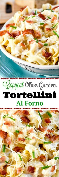 Tortellini Al Forno, a copycat Olive Garden recipe, has pillowy cheese filled tortellini in a rich parmesan cream sauce with crumbled bacon and chives. Tortellini Recipes, Pasta Recipes, Dinner Recipes, Cooking Recipes, Healthy Recipes, Tortellini Alfredo, Chicken Recipes, Baked Chicken, Linguine Recipes