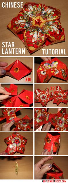 Chinese New Year Star Lantern DIY Tutorial. Made of Red Envelopes!