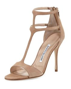 Cellin Suede T-Strap High-Heel Sandal, Pink by Manolo Blahnik at Neiman Marcus.